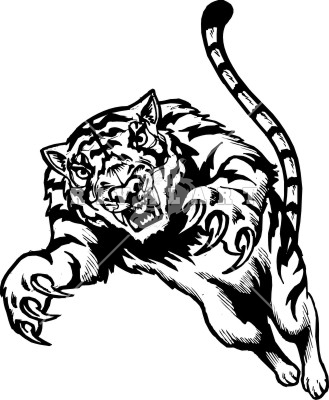 Leaping tiger tattoo design