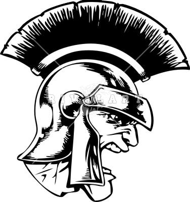 Spartan Head Facing Right Black White Trojan Pictures ...